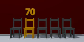 Number seventy and row of chairs Stock Photography