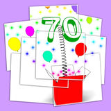 Number Seventy Surprise Box Displays Sparkling Balloons And Conf Stock Photos