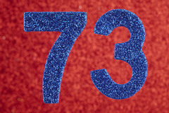 Number seventy-three blue color over a red background. Anniversa. Ry. Horizontal Stock Images