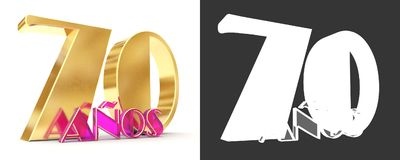 Number seventy years 70 years celebration design. Anniversary golden number template elements for your birthday party. Translate. D from Spanish - Years. 3D Stock Photography