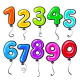 Number shaped bright and glossy colorful balloons Stock Photos