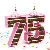 Number 75 shaped chocolate birthday cake with lit candle Stock Images