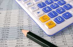Number sheet, pencil and calculator Royalty Free Stock Photography