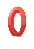 Number 0. Shiny beautiful realistic number 0 with white background Stock Photography