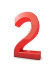 Number 2. Shiny beautiful realistic number 2 with white background Royalty Free Stock Images