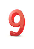 Number 9. Shiny beautiful realistic number 9 with white background Stock Images