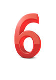 Number 6. Shiny beautiful realistic number 6 with white background Stock Photo