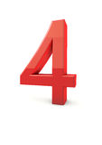 Number 4. Shiny beautiful realistic number 4 with white background Stock Photos