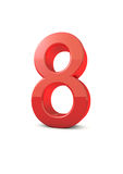 Number 8. Shiny beautiful realistic number 8 with white background Stock Images