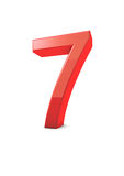 Number 7. Shiny beautiful realistic number 7 with white background Royalty Free Stock Photos