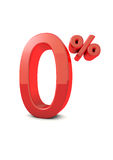 Number 0%. Shiny beautiful realistic  0% with white background Royalty Free Stock Photos
