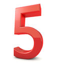 Number 5. Shiny beautiful realistic number 5 with white background Stock Photography