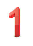 Number 1. Shiny beautiful realistic number 1 with white background Royalty Free Stock Image