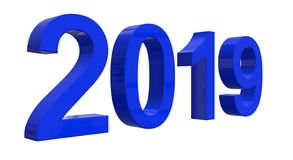 The number of 2019 in shiny blue numbers royalty free stock photo