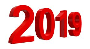 The number 2019 in shiny red numbers stock photo