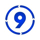 Number 9 icon. Number 9 sign turn icon illustration. flat style Royalty Free Stock Photos