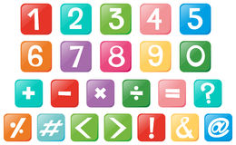 Number and signs on square buttons. Illustration stock illustration