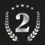 Number 2 in silver color with a laurel wreath and stars. Number  2 in silver color with a laurel wreath and stars Royalty Free Stock Photos