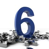 Number Six. 3d image of a blue number six with other chrome little numbers isolated on white background Stock Photography