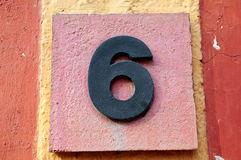 Number six. On a stone board Stock Photography