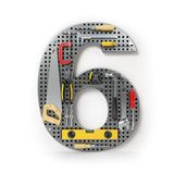 Number 6 six. Alphabet from the tools on the metal pegboard isol Stock Image