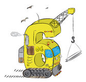 Number Six As Crane and Bulldozer on Construction Site Stock Images