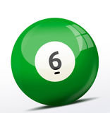 Number six billiard ball Royalty Free Stock Images