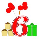Number Six Candle Means Festive Occasion. Number Six Candle Meaning Festive Occasion Or Decorated Celebration Royalty Free Stock Photos