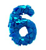 Number six 6 made of broken plastic blue color isolated white background stock illustration