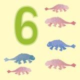 Number 6. Six dinosaur (Ankylosaur) . Stock Photography
