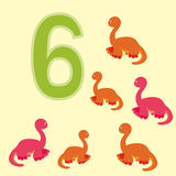 Number 6. Six dinosaur (Brachiosaurus) . Stock Photos