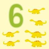 Number 6. Six dinosaur (Diplodocus) . Royalty Free Stock Image