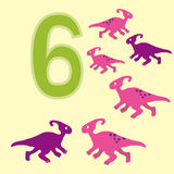 Number 6. Six dinosaur (Parasaurolophus) . Royalty Free Stock Photos