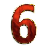 Number six in fiery red. Number 6 in fiery red & gold isolated on white series Stock Image