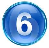 Number six icon blue. Number six icon blue, isolated on white background Royalty Free Stock Photos