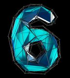 Number 6 six in low poly style blue color isolated on black background. 3d. Rendering Royalty Free Stock Photography