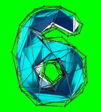 Number 6 six in low poly style blue color isolated on green background. 3d. Rendering Royalty Free Illustration