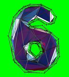 Number 6 six in low poly style blue color isolated on green background. 3d stock illustration