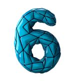 Number 6 six in low poly style blue color isolated on white background. 3d Stock Photo