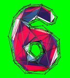 Number 6 six in low poly style red color isolated on green background. 3d. Rendering Royalty Free Stock Images