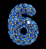 Number 6 six made of blue diamond isolated on black background. 3d Stock Image