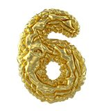 Number 6 six made of crumpled gold foil isolated on white background. 3d. Rendering Stock Images