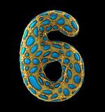 Number 6 six made of golden shining metallic 3D with blue glass isolated on black background. 3d rendering Stock Image