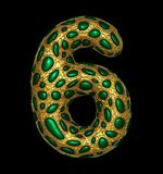 Number 6 six made of golden shining metallic 3D with green glass isolated on black background. 3d rendering vector illustration
