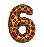 Number 6 six made of golden shining metallic 3D with red glass isolated on white background. royalty free illustration