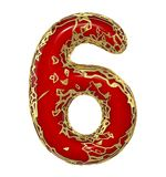 Number six 6 made of golden shining metallic with red paint isolated on white 3d. Rendering Royalty Free Illustration