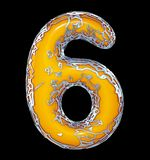 Number six 6 made of golden shining metallic with yellow paint isolated on black 3d. Rendering royalty free illustration