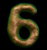 Number 6 six made of natural gold snake skin texture isolated on black. 3d rendering royalty free illustration