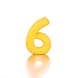 Number six 6 made from plasticine isolated yellow.  Stock Images