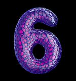 Number 6 six made of purple plastic with abstract holes isolated on black background. 3d. Rendering royalty free illustration